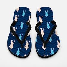 Blue and Tan Chevron Baseball Flip Flops