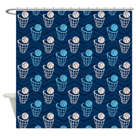 Blue And Tan Chevron Basketball Net Shower Curtain By
