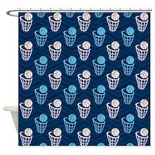 Blue and Tan Chevron Basketball Net Shower Curtain