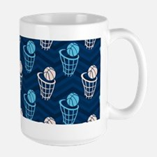 Blue and Tan Chevron Basketball Net Mugs