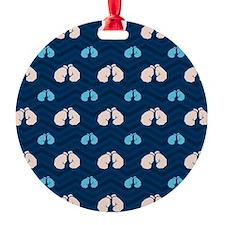 Blue and Tan Chevron Boxing Ornament