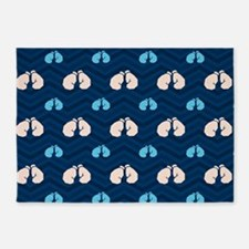 Blue and Tan Chevron Boxing 5'x7'Area Rug