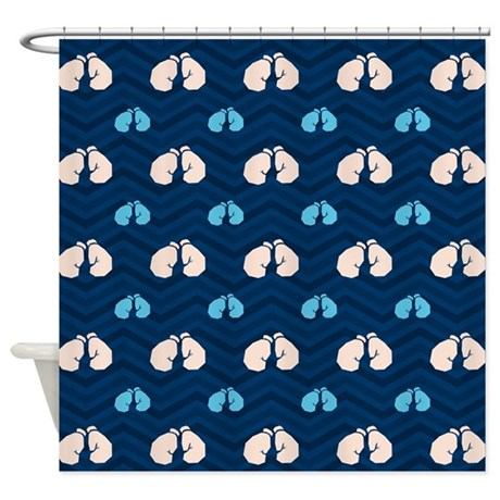 Blue And Tan Chevron Boxing Shower Curtain By ClipArtMEGAmart
