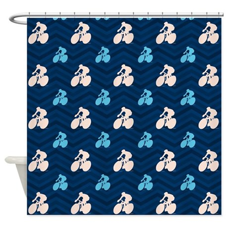 Blue And Tan Chevron Cycling Shower Curtain By ClipArtMEGAmart