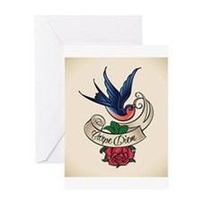 carpe diem bluebird tattoo style Greeting Cards