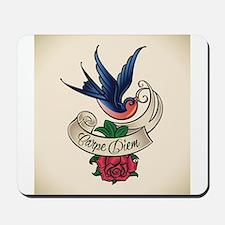 carpe diem bluebird tattoo style Mousepad