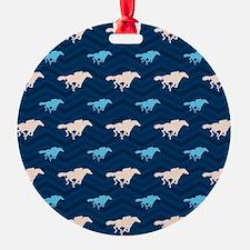 Blue and Tan Chevron Horse Racing Ornament