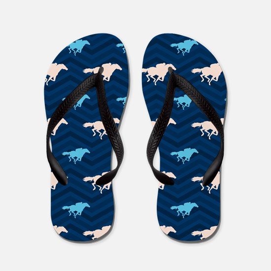 Blue and Tan Chevron Horse Racing Flip Flops