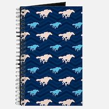 Blue and Tan Chevron Horse Racing Journal
