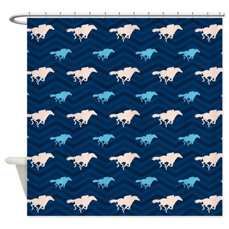 Blue And Tan Chevron Horse Racing Shower Curtain By