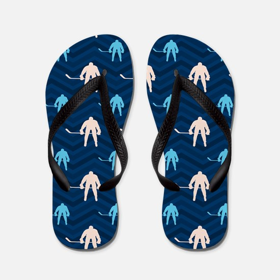Blue and Tan Chevron Ice Hockey Flip Flops