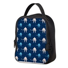 Blue and Tan Chevron Ice Hockey Neoprene Lunch Bag