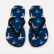 Blue and Tan Chevron Martial Arts Flip Flops