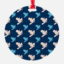 Blue and Tan Chevron Motocross Ornament