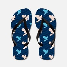 Blue and Tan Chevron Motocross Flip Flops