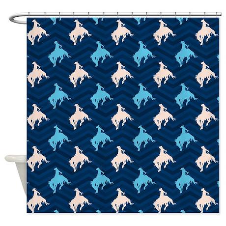 Blue And Tan Chevron Cowboy Shower Curtain By ClipArtMEGAmart