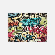 Graffiti Wall 5'x7'Area Rug