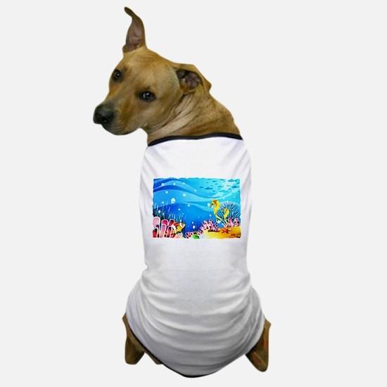 Undersea Coral, Fish Seahorses Dog T-Shirt