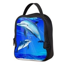Mom Baby Dolphin Neoprene Lunch Bag