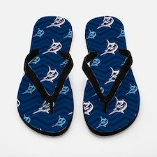 Blue and Tan Chevron Saltwater Fishing Flip Flops