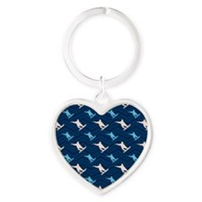 Blue and Tan Chevron Snowboarding Keychains