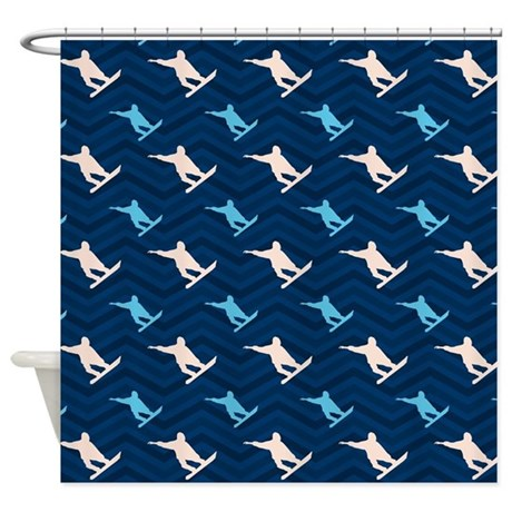 Blue And Tan Chevron Snowboarding Shower Curtain By ClipArtMEGAmart