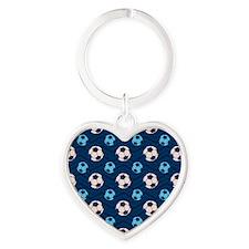 Blue and Tan Chevron Soccer Ball Keychains