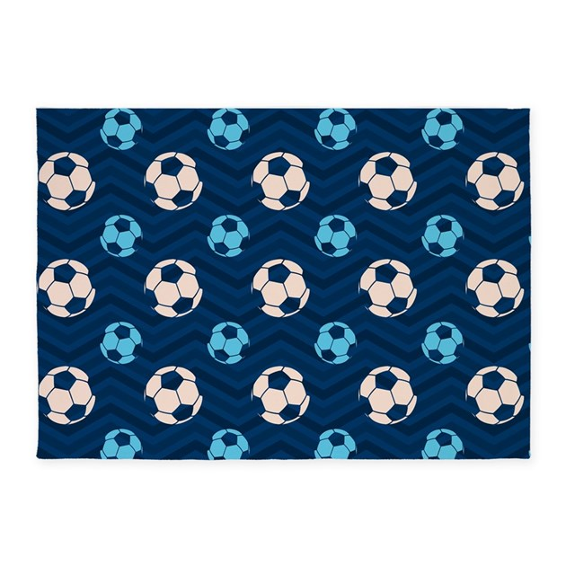 Blue And Tan Chevron Soccer Ball 5'x7'Area Rug By