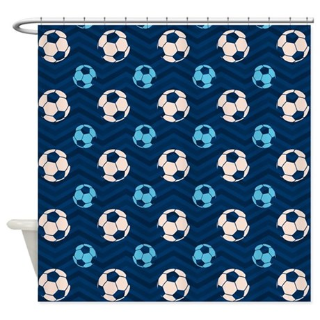 Blue And Tan Chevron Soccer Ball Shower Curtain By