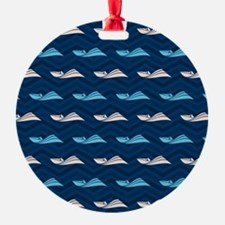 Blue and Tan Chevron Speed Boat Ornament