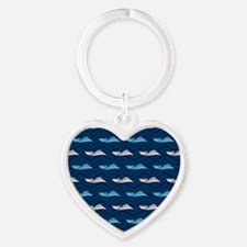 Blue and Tan Chevron Speed Boat Keychains