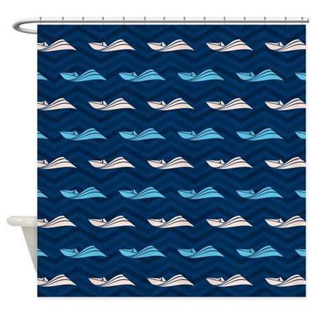 Blue And Tan Chevron Speed Boat Shower Curtain By