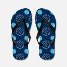Blue and Tan Chevron Volleyball Flip Flops