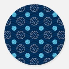 Blue and Tan Chevron Volleyball Round Car Magnet
