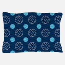 Blue and Tan Chevron Volleyball Pillow Case