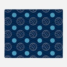 Blue and Tan Chevron Volleyball Throw Blanket