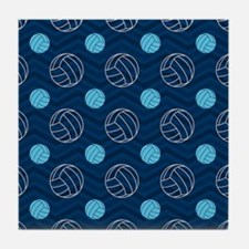 Blue and Tan Chevron Volleyball Tile Coaster