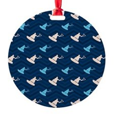 Blue and Tan Chevron Wakeboarding Ornament