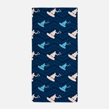 Blue and Tan Chevron Wakeboarding Beach Towel