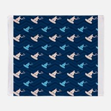 Blue and Tan Chevron Wakeboarding Throw Blanket