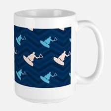 Blue and Tan Chevron Wakeboarding Mugs
