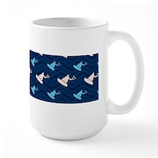 Blue and Tan Chevron Wakeboarding Mugs