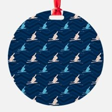 Blue and Tan Chevron Snow Skiing Ornament