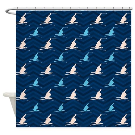 Blue And Tan Chevron Snow Skiing Shower Curtain By