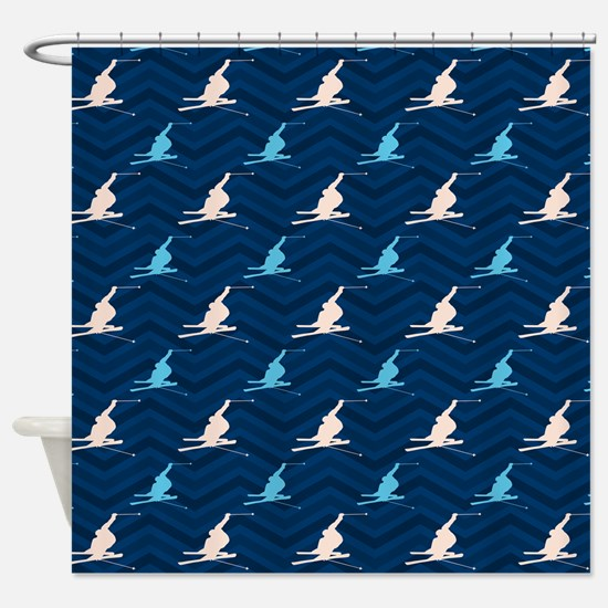 Blue and Tan Chevron Snow Skiing Shower Curtain