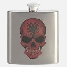 Albanian Flag Skull Flask