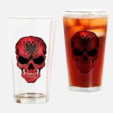 Albanian Flag Skull Drinking Glass