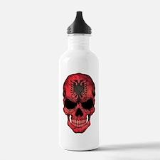 Albanian Flag Skull Water Bottle