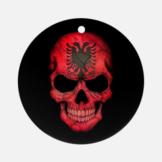 Albanian Flag Skull on Black Ornament (Round)