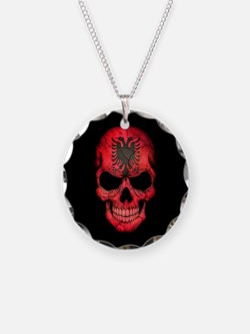Albanian Flag Skull on Black Necklace